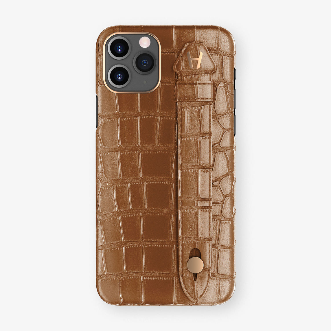 Alligator Side Finger Case Phone 11 Pro  | Cognac/Cognac - Rose Gold