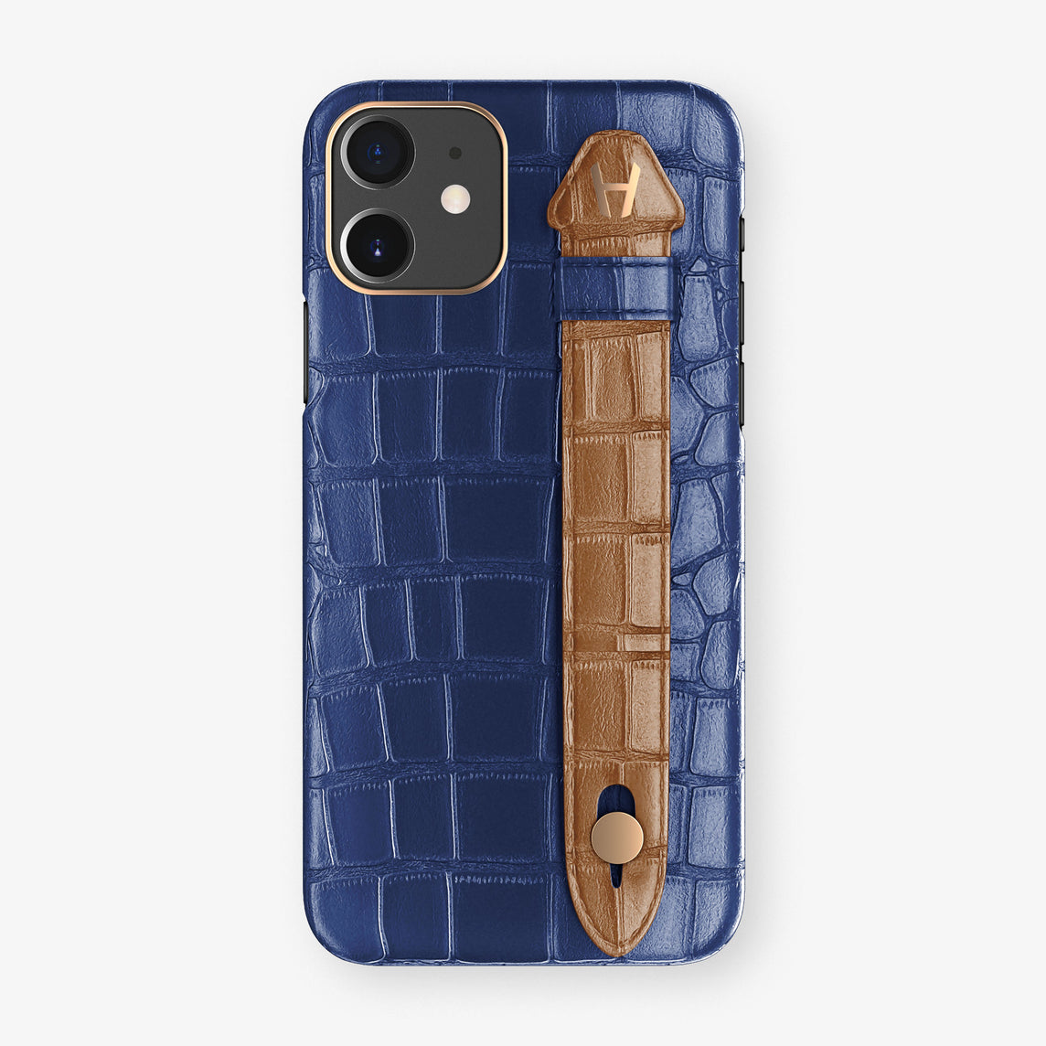 Alligator Side Finger Case Phone 11  | Navy-Blue/Cognac - Rose Gold