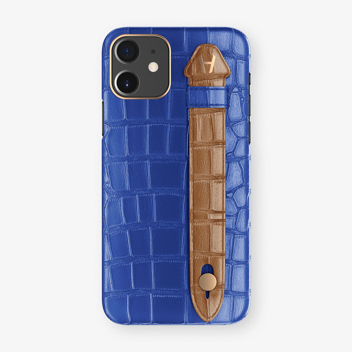 Alligator Side Finger Case Phone 11  | Peony-Blue/Cognac - Rose Gold