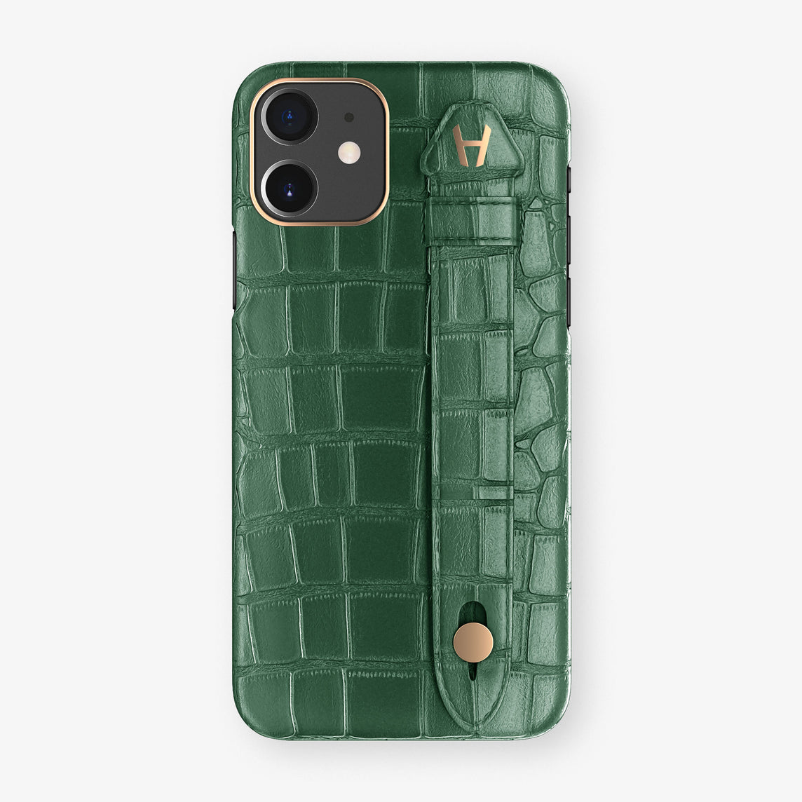 Alligator Side Finger Case Phone 11  | Green/Green - Rose Gold