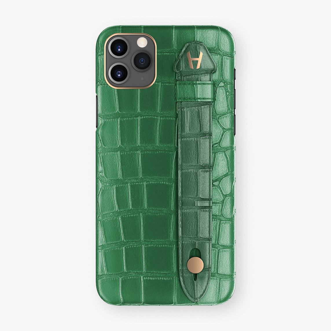 Alligator Side Finger Case Phone 11 Pro Max  | Green Emerald/Green - Rose Gold