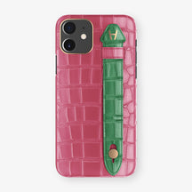 Alligator Side Finger Case Phone 11  | Pink-Girly/Green-Emerald - Rose Gold