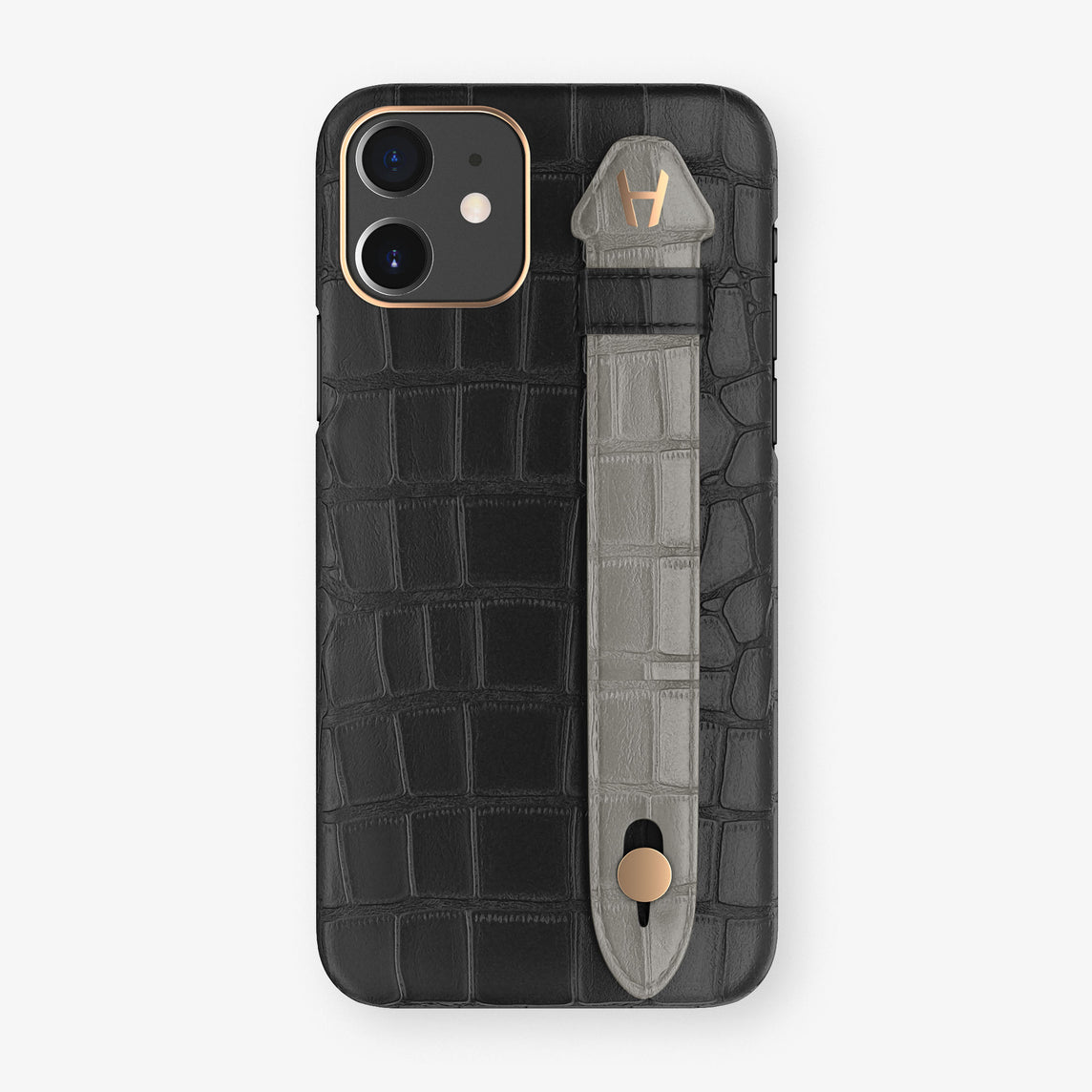Alligator Side Finger Case Phone 11  | Black/Grey - Rose Gold