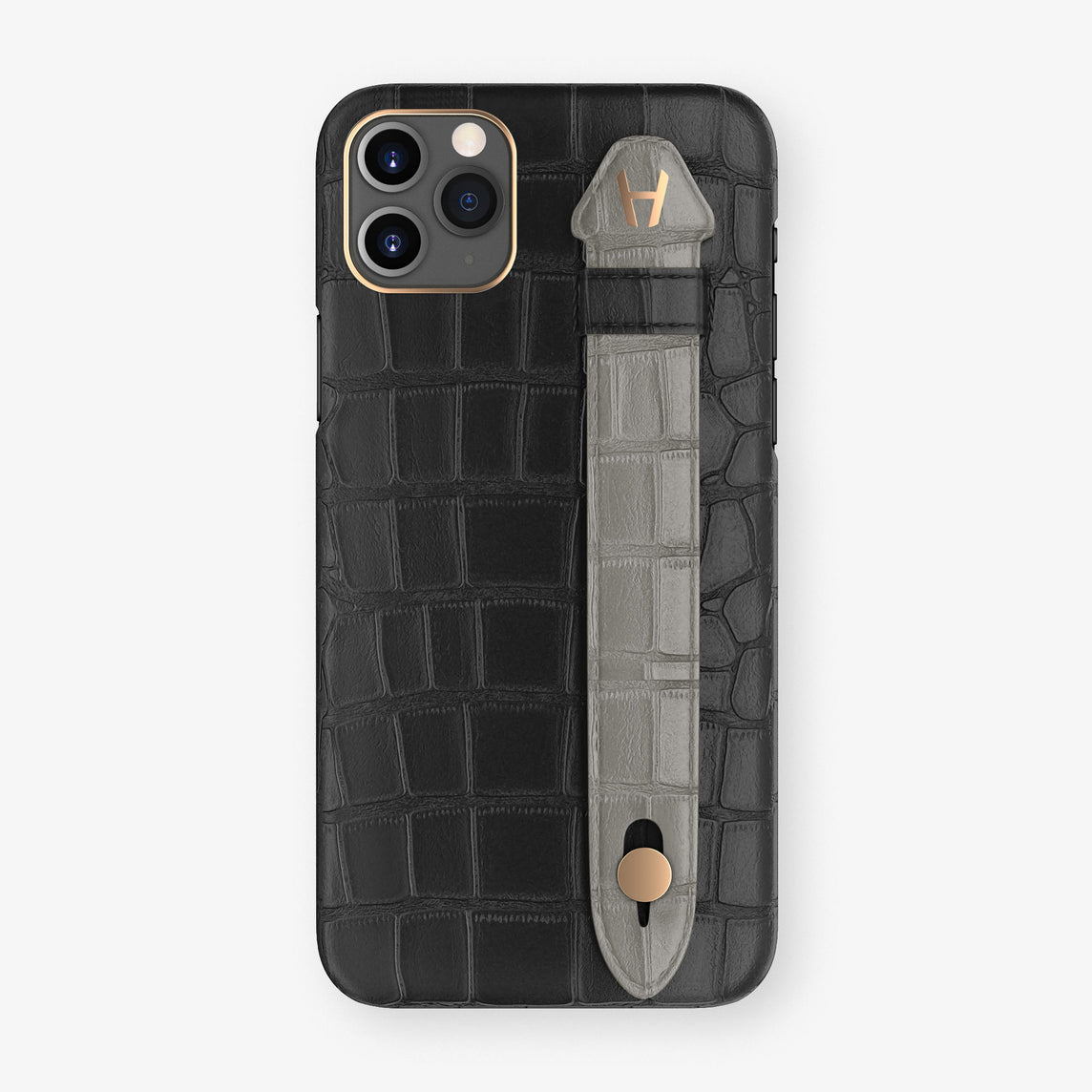 Alligator Side Finger Case Phone 11 Pro Max  | Black/Grey - Rose Gold