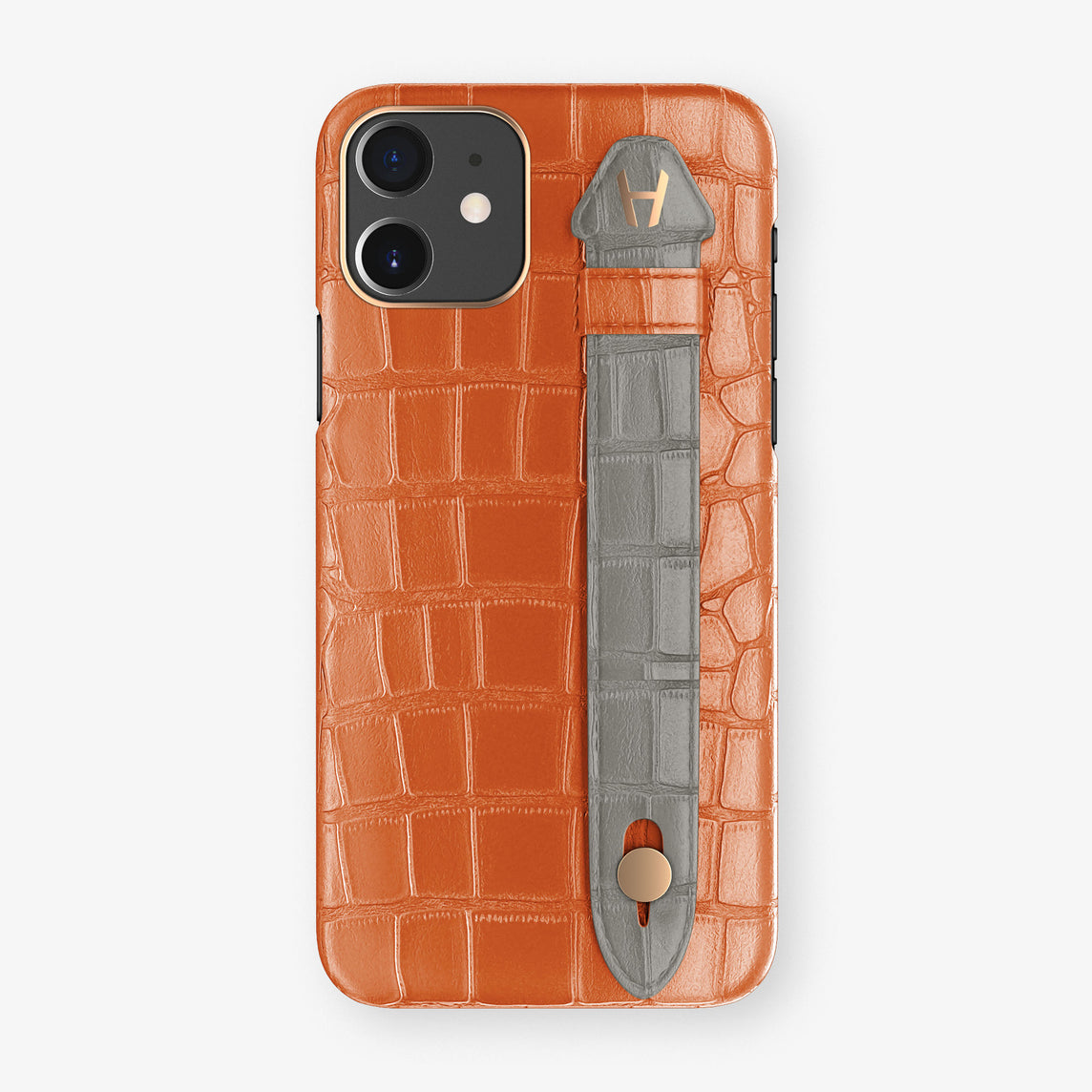 Alligator Side Finger Case Phone 11  | Orange-Sunset/Grey - Rose Gold