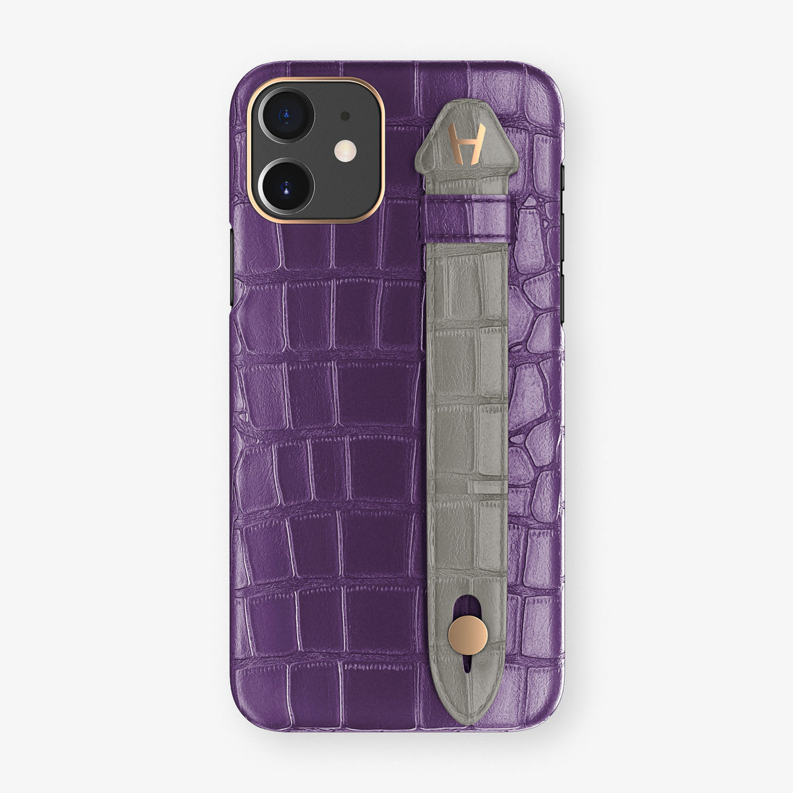 Alligator Side Finger Case Phone 11  | Purple/Grey - Rose Gold