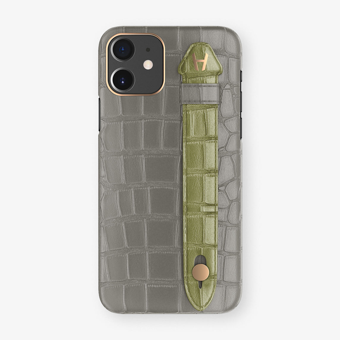 Alligator Side Finger Case Phone 11  | Grey/Khaki - Rose Gold