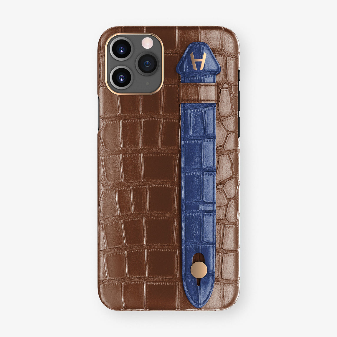 Alligator Side Finger Case Phone 11 Pro  | Brown/Navy-Blue - Rose Gold