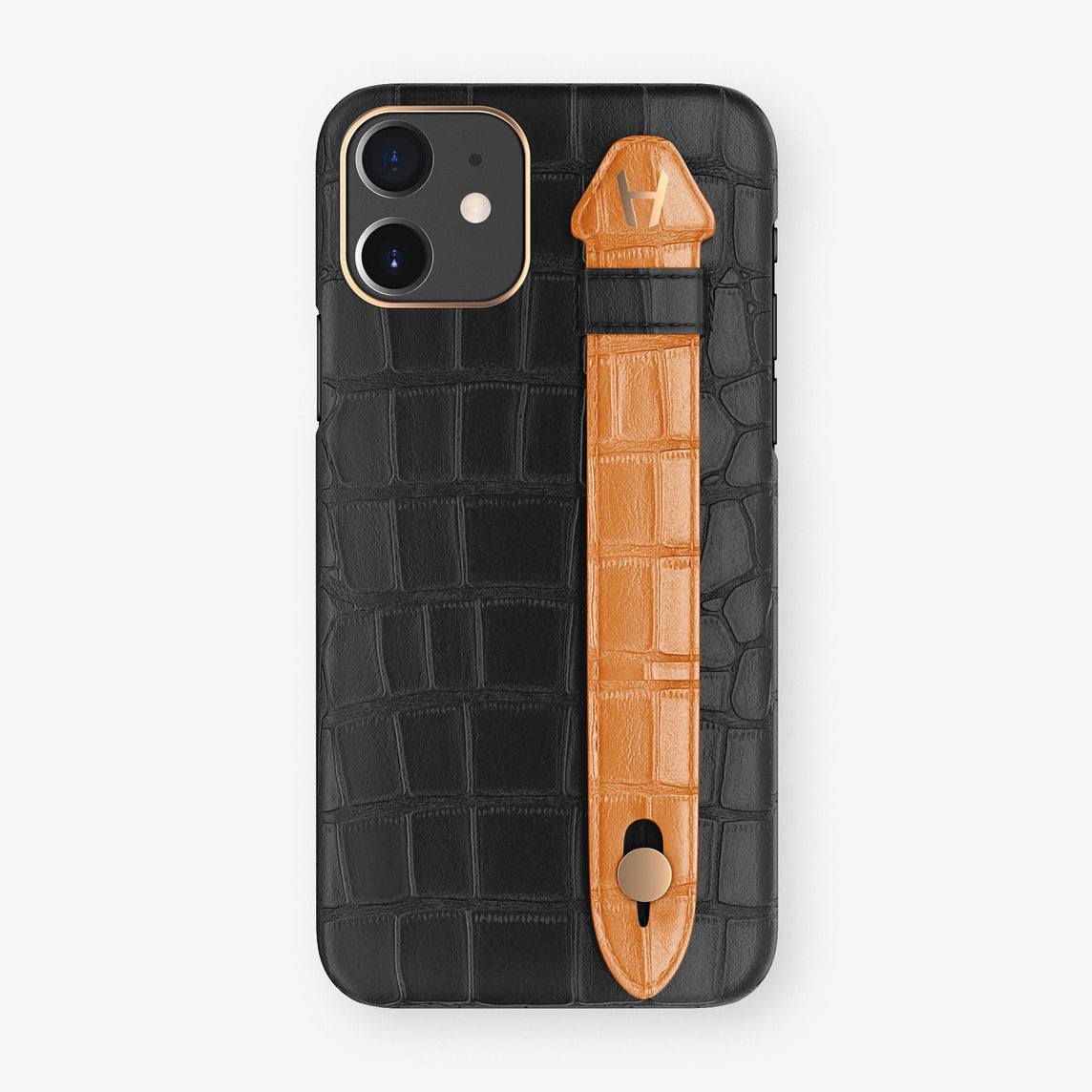 Alligator Side Finger Case Phone 11  | Black/Orange - Rose Gold