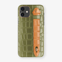 Alligator Side Finger Case Phone 11  | Khaki/Orange - Rose Gold
