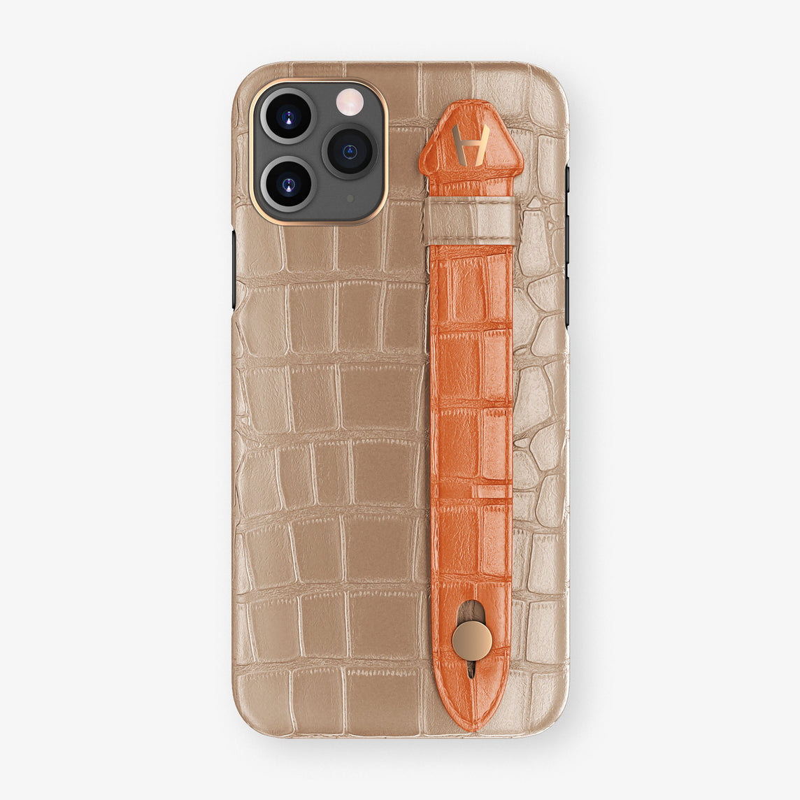 Alligator Side Finger Case Phone 11 Pro  | Latte/Orange-Sunset - Rose Gold