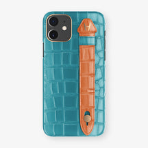 Alligator Side Finger Case Phone 11  | Blue-Teal/Orange-Sunset - Rose Gold