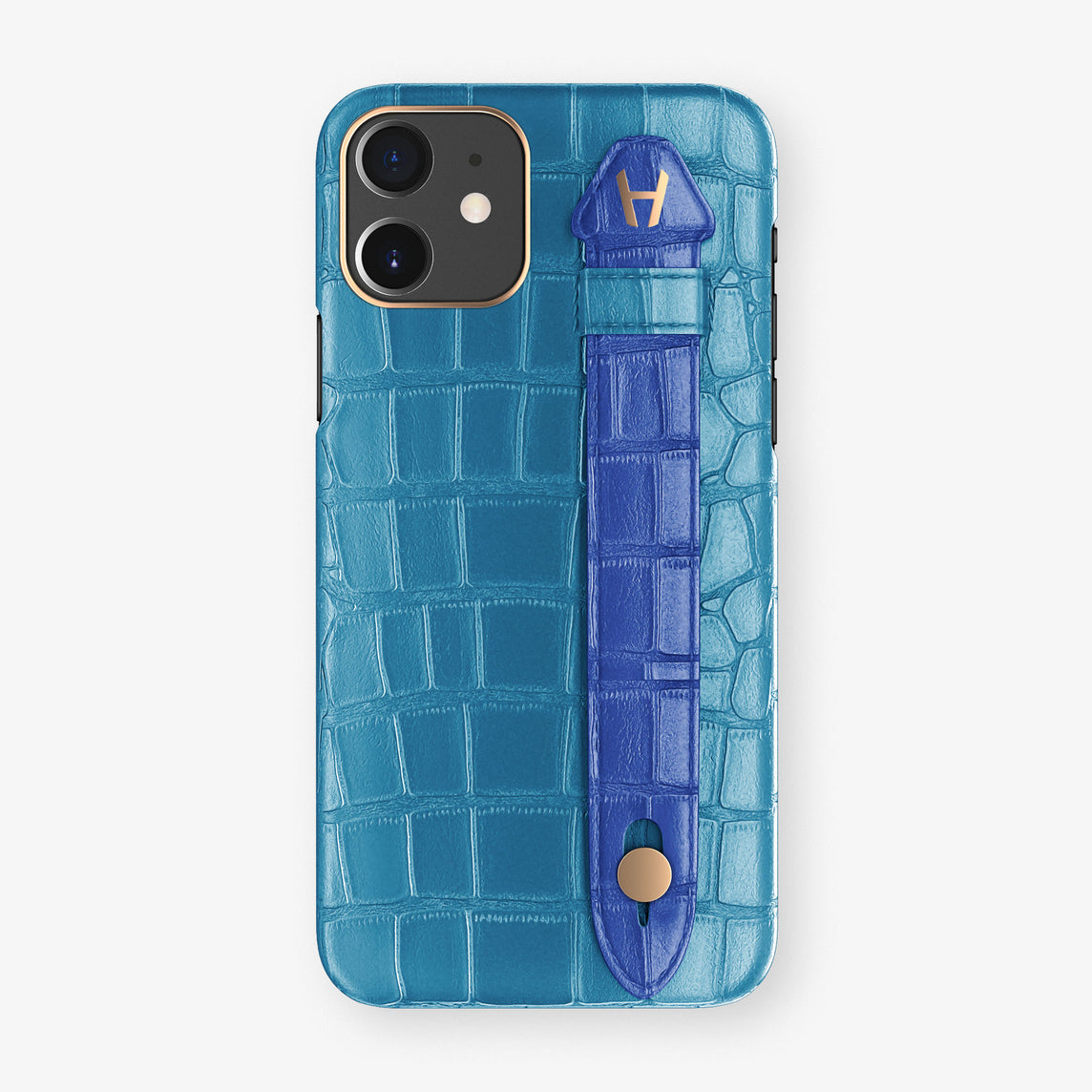 Alligator Side Finger Case Phone 11  | Blue-Lagoon/Peony-Blue - Rose Gold