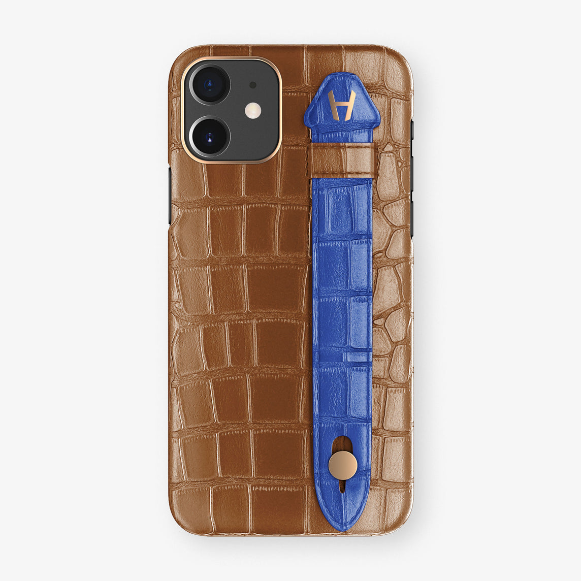 Alligator Side Finger Case Phone 11  | Cognac/Peony-Blue - Rose Gold