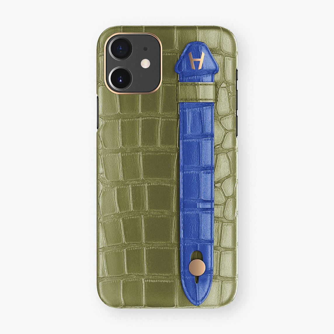 Alligator Side Finger Case Phone 11  | Khaki/Peony-Blue - Rose Gold