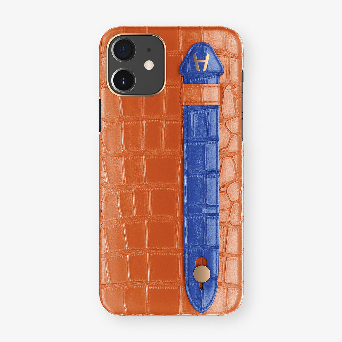 Alligator Side Finger Case Phone 11  | Orange-Sunset/Peony-Blue - Rose Gold