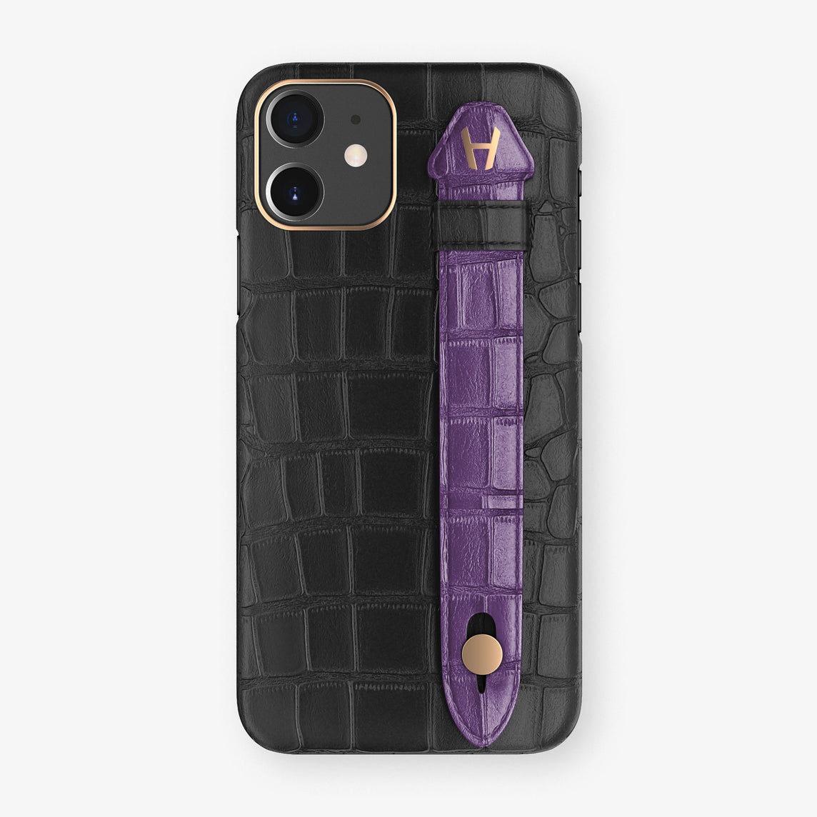 Alligator Side Finger Case Phone 11  | Black/Purple - Rose Gold