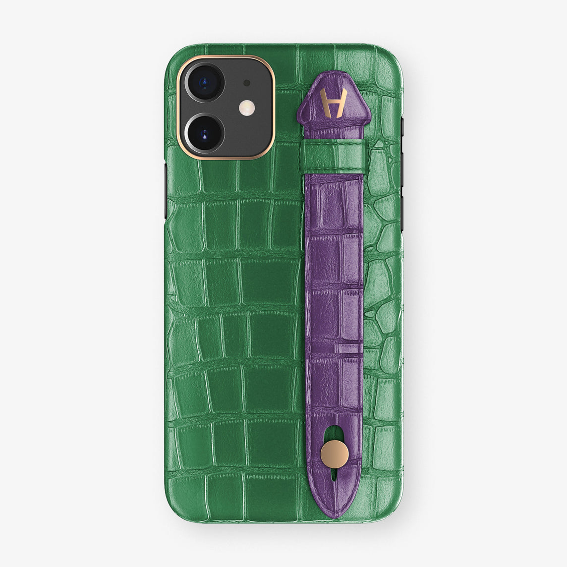 Alligator Side Finger Case Phone 11  | Green Emerald/Purple - Rose Gold