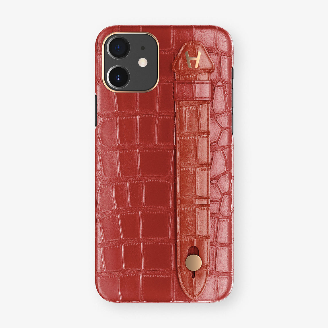 Alligator Side Finger Case Phone 11  | Red-Ruby-Nacre/Red - Rose Gold