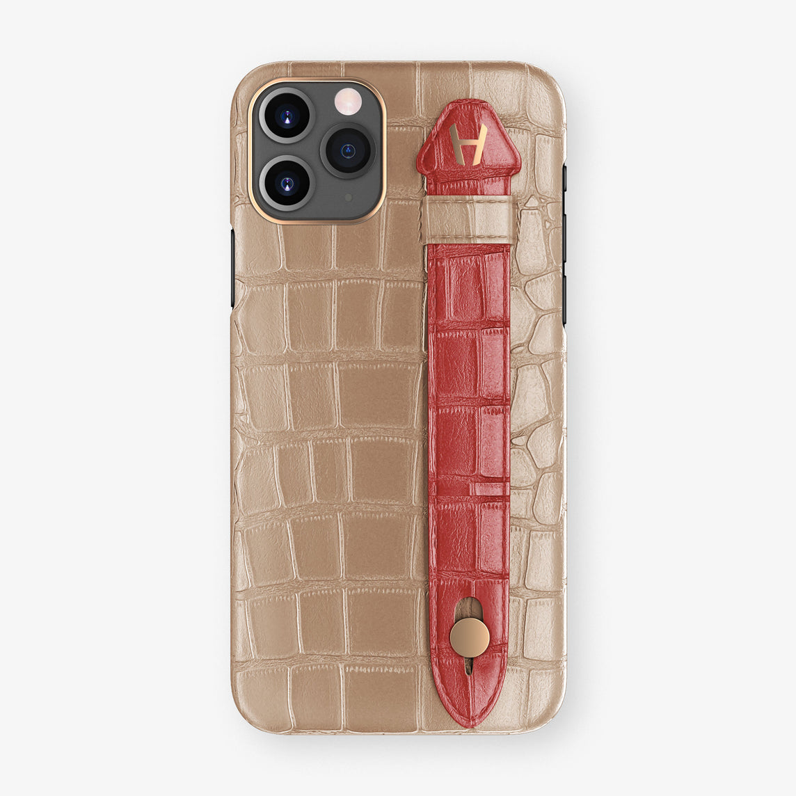 Alligator Side Finger Case Phone 11 Pro  | Latte/Red-Ruby-Nacre - Rose Gold