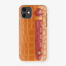 Alligator Side Finger Case Phone 11  | Orange/Red-Ruby-Nacre - Rose Gold