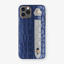 Alligator Side Finger Case Phone 11 Pro  | Navy-Blue/Silver - Rose Gold