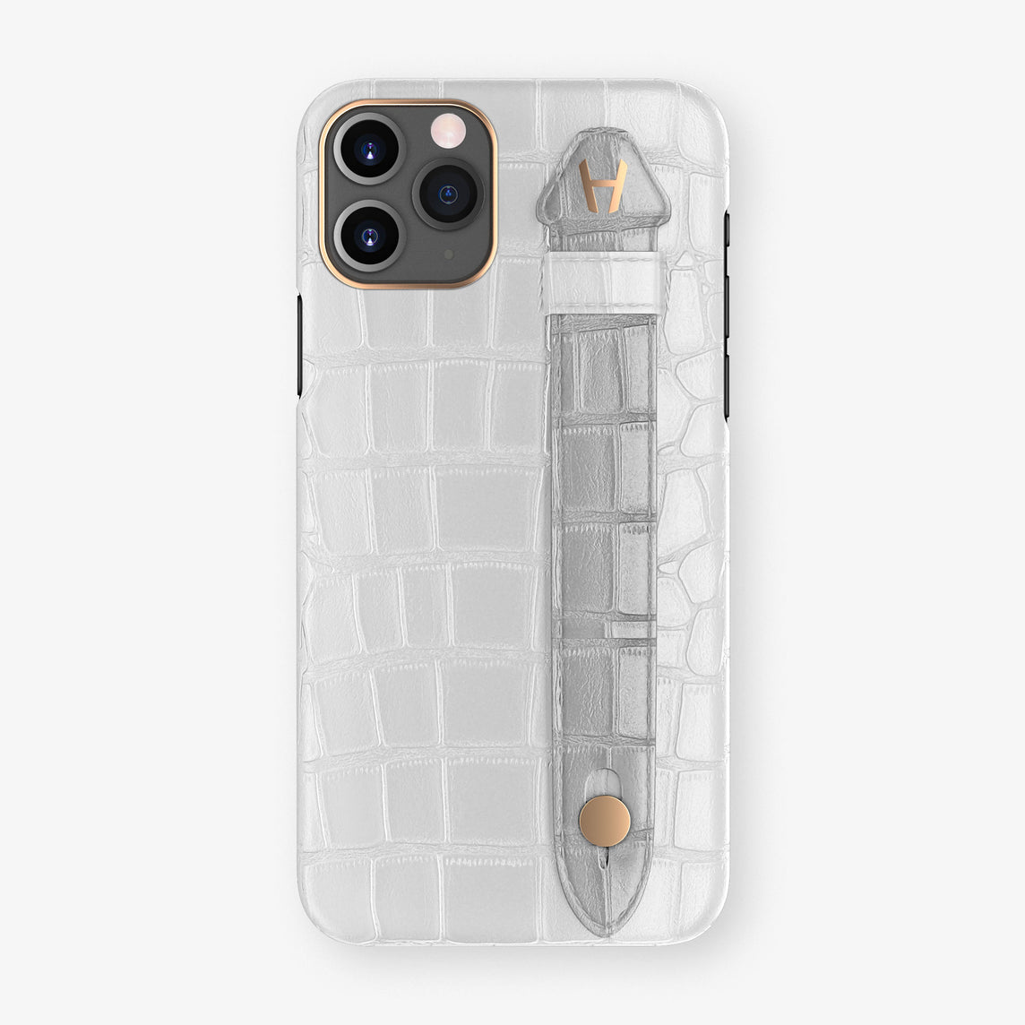 Alligator Side Finger Case Phone 11 Pro  | White/Silver - Rose Gold