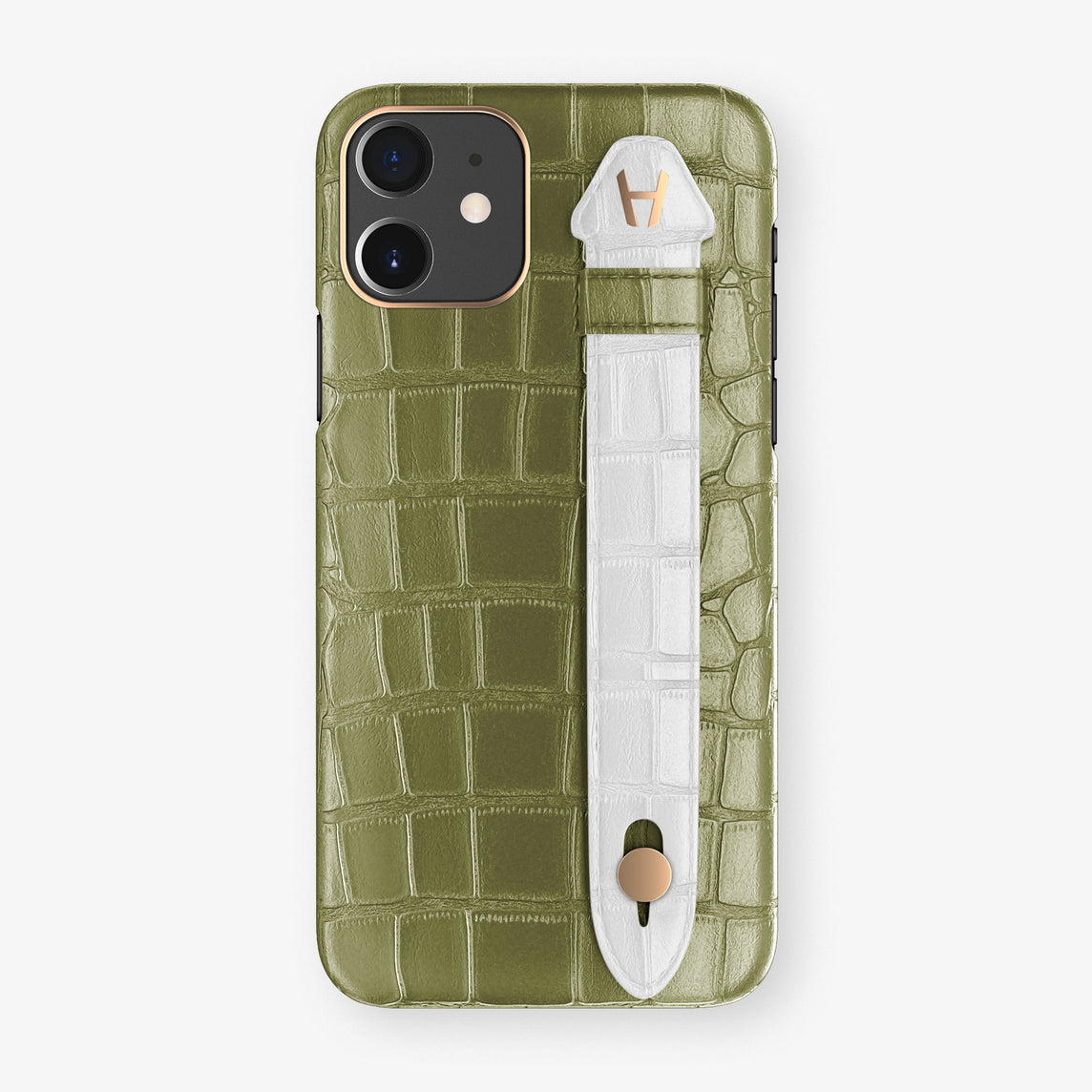 Alligator Side Finger Case Phone 11  | Khaki/White - Rose Gold