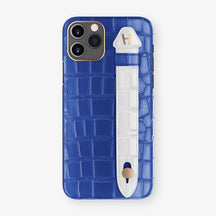 Alligator Side Finger Case Phone 11 Pro  | Peony-Blue/White - Rose Gold