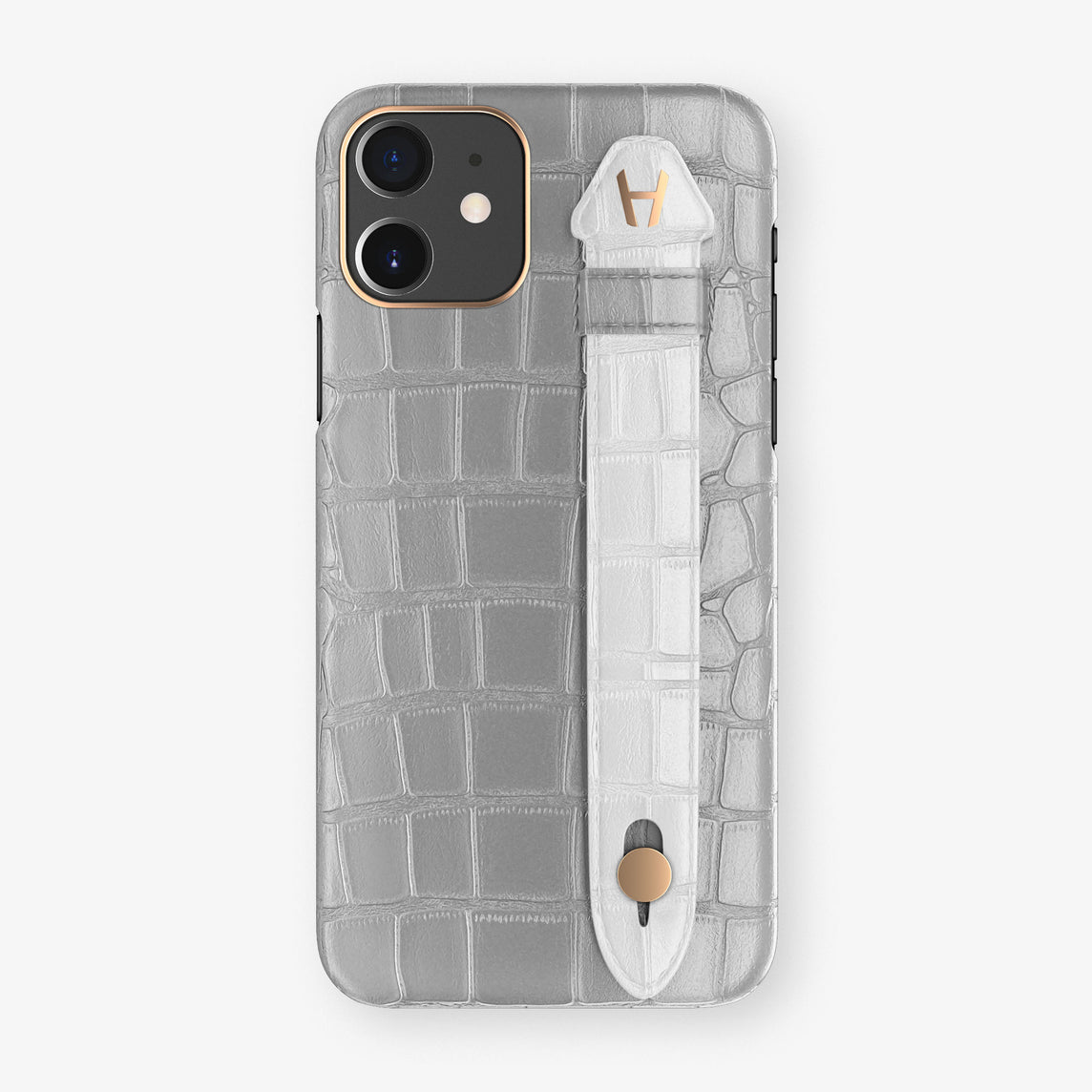 Alligator Side Finger Case Phone 11  | Silver/White - Rose Gold