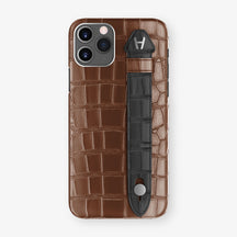 Alligator Side Finger Case Phone 11 Pro  | Brown/Black - Stainless-Steel
