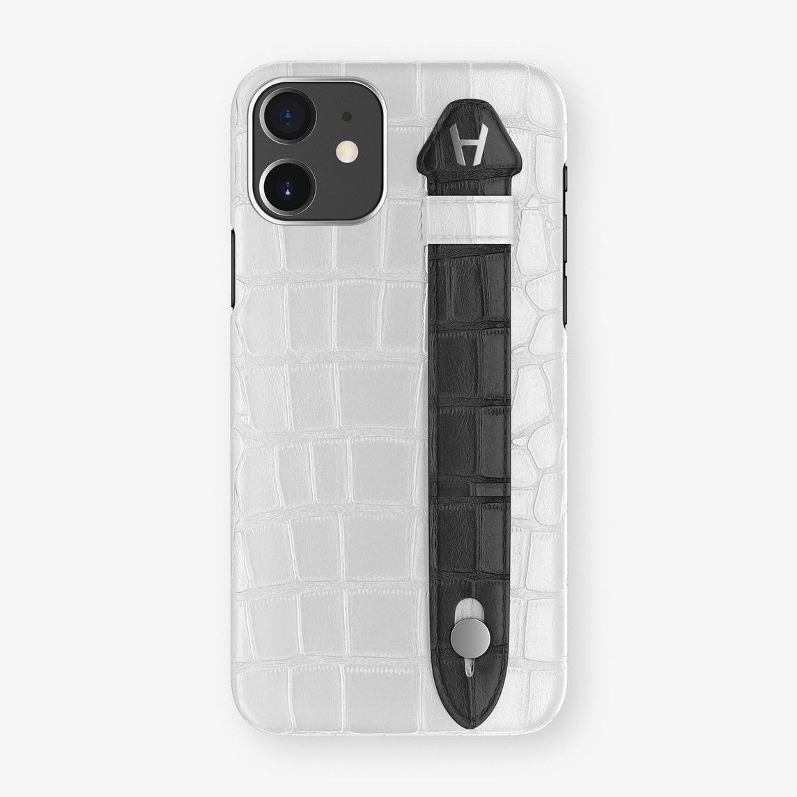 Alligator Side Finger Case Phone 11  | White/Black - Stainless-Steel