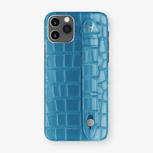 Alligator Side Finger Case Phone 11 Pro  | Blue-Lagoon/Blue-Lagoon - Stainless-Steel