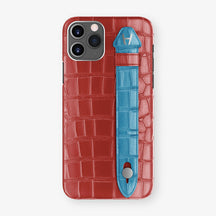 Alligator Side Finger Case Phone 11 Pro  | Red-Ruby-Nacre/Blue-Lagoon - Stainless-Steel