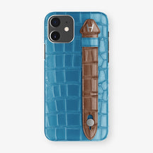 Alligator Side Finger Case Phone 11  | Blue-Lagoon/Brown - Stainless-Steel