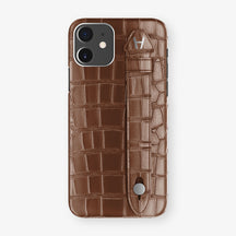Alligator Side Finger Case Phone 11  | Brown/Brown - Stainless-Steel