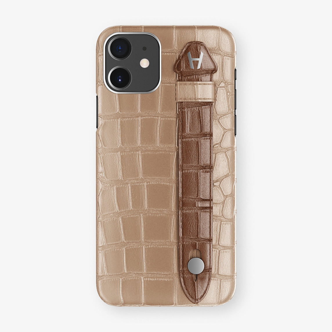 Alligator Side Finger Case Phone 11  | Latte/Brown - Stainless-Steel
