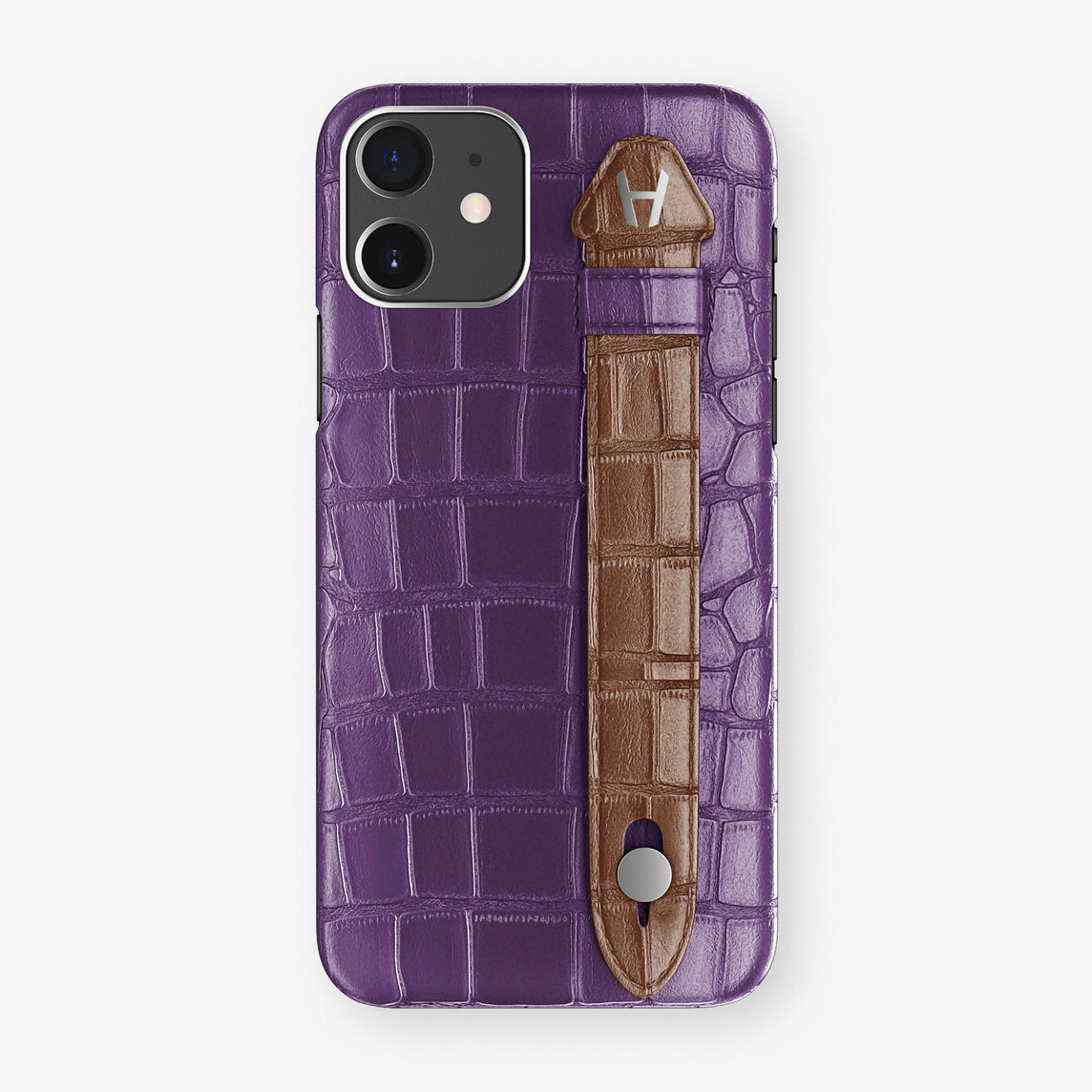Alligator Side Finger Case Phone 11  | Purple/Brown - Stainless-Steel