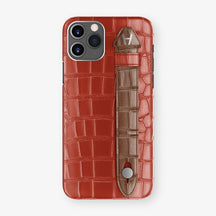 Alligator Side Finger Case Phone 11 Pro  | Red/Brown - Stainless-Steel