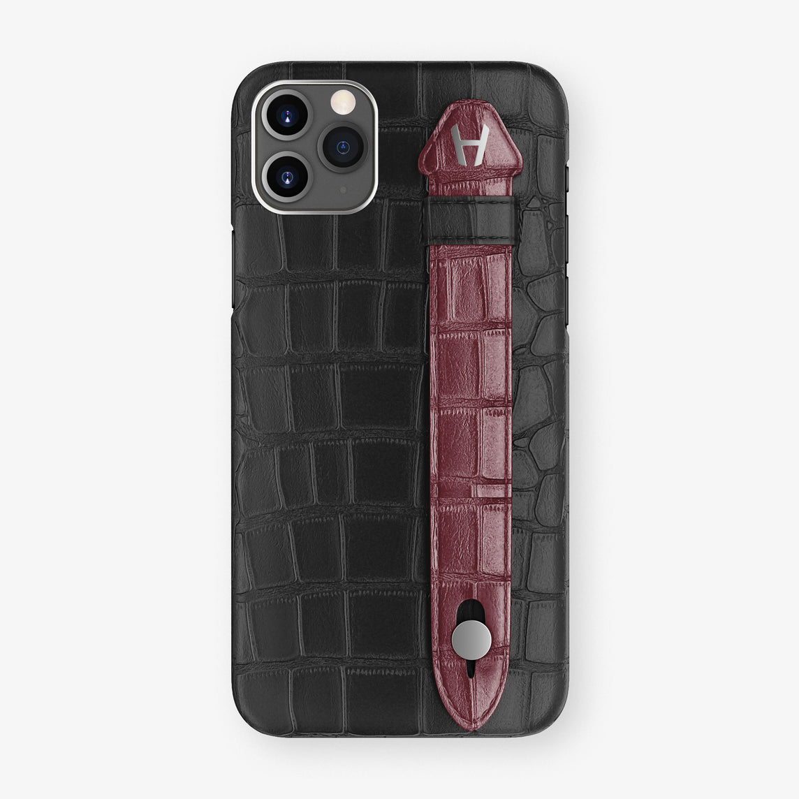 Alligator Side Finger Case Phone 11 Pro Max  | Black/Burgundy - Stainless-Steel