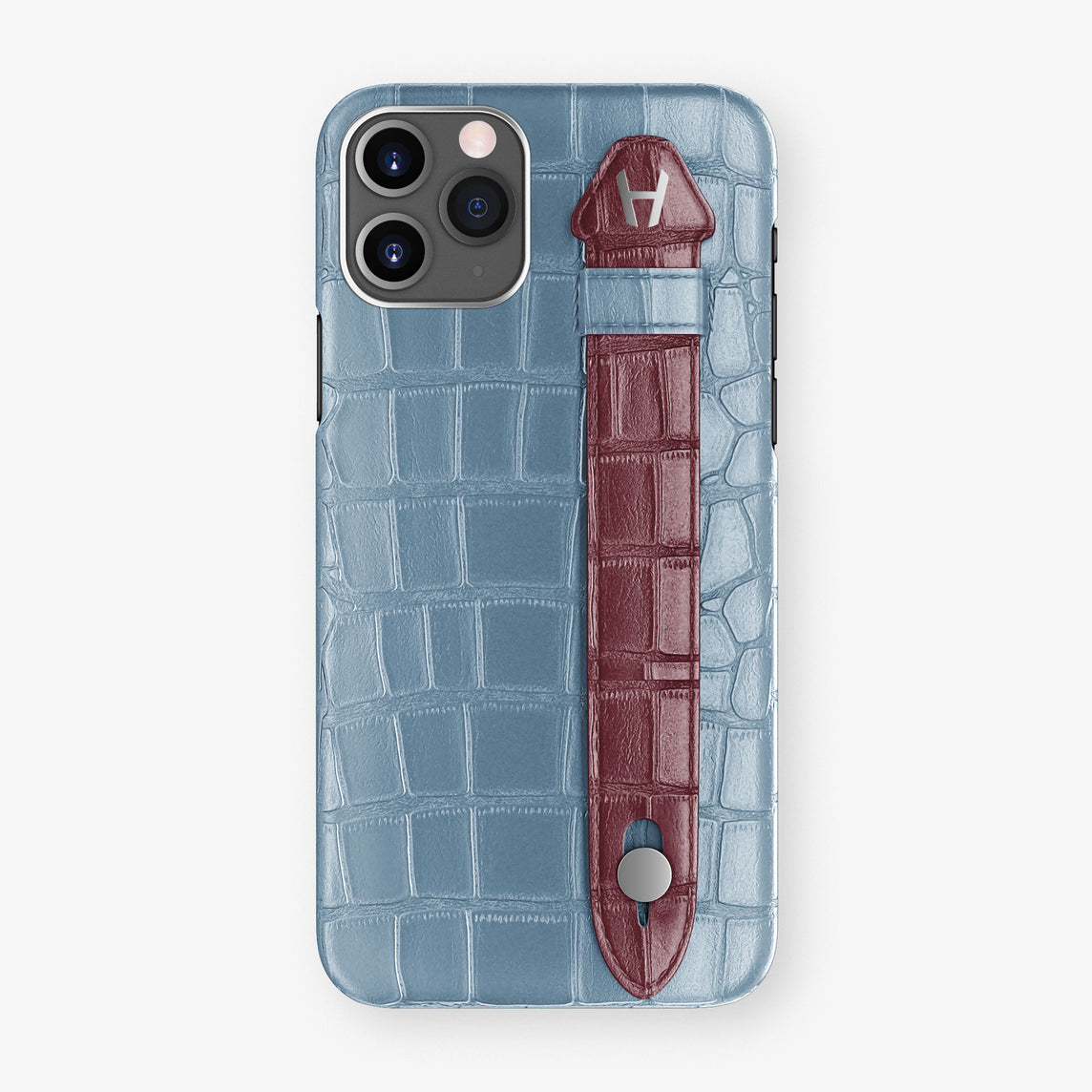 Alligator Side Finger Case Phone 11 Pro  | Blue-Ciel/Burgundy - Stainless-Steel