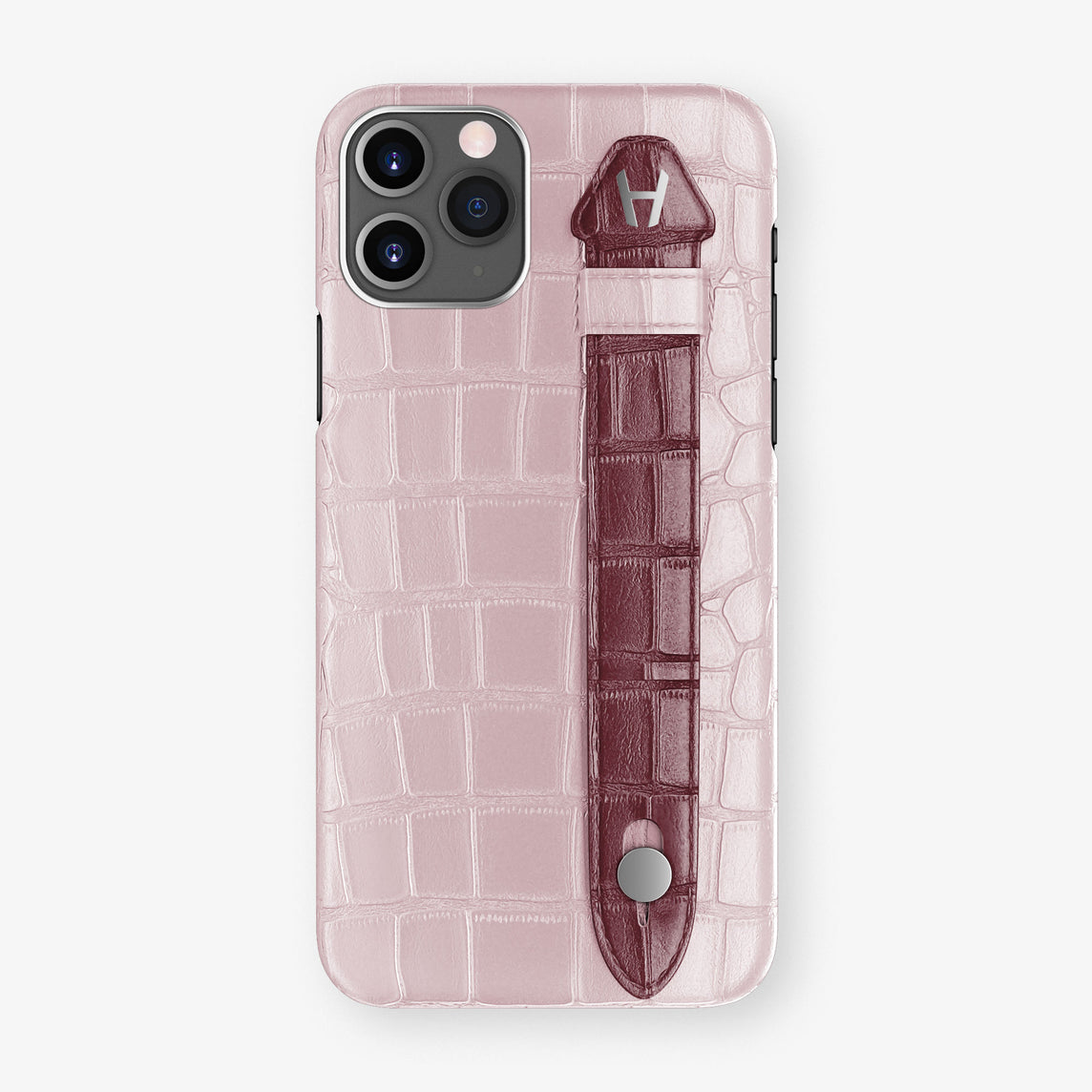 Alligator Side Finger Case Phone 11 Pro  | Pink-Poudre/Burgundy - Stainless-Steel
