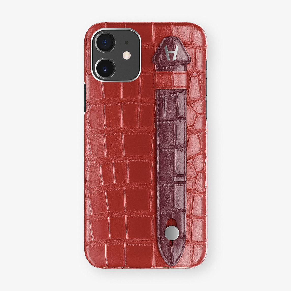 Alligator Side Finger Case Phone 11  | Red-Ruby-Nacre/Burgundy - Stainless-Steel