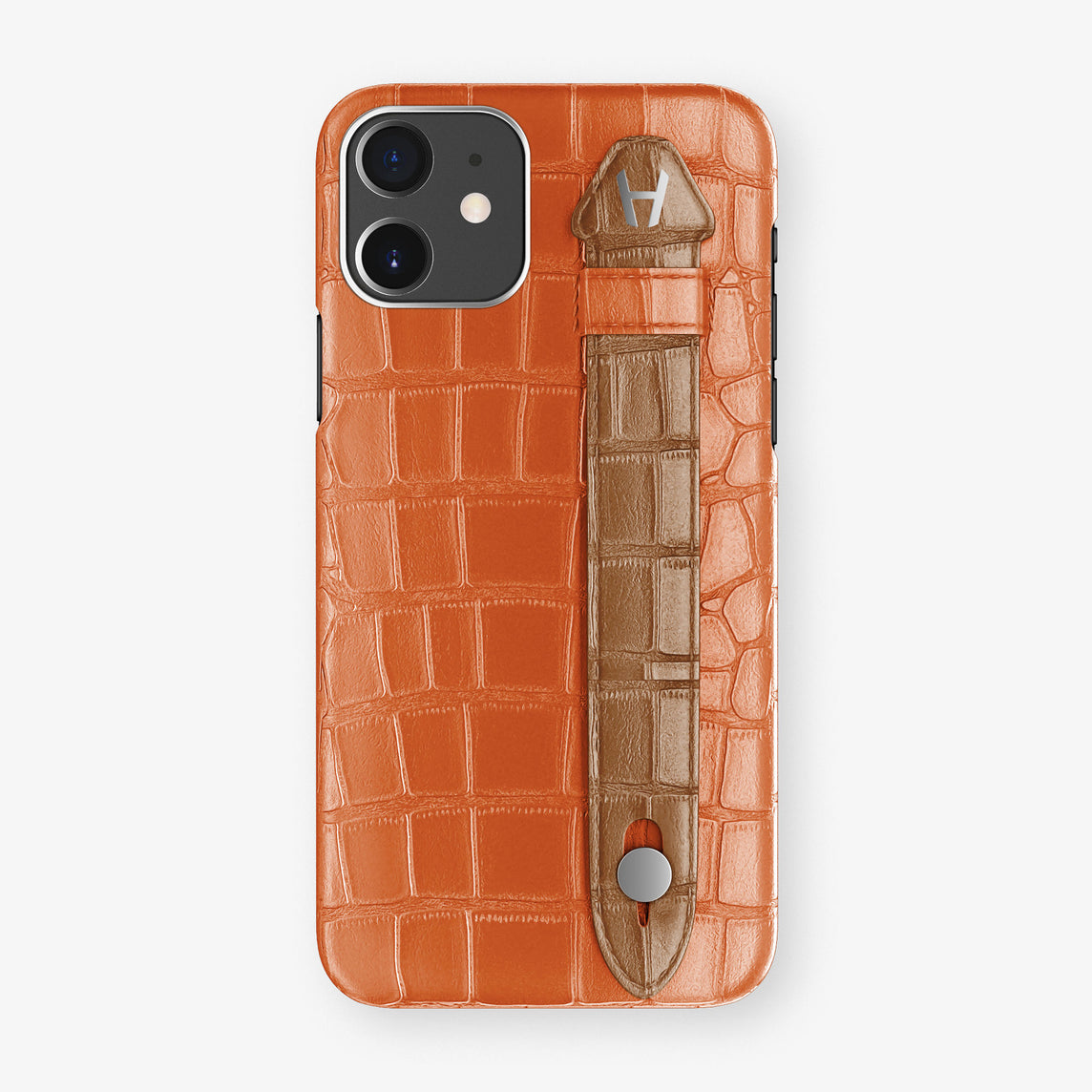 Alligator Side Finger Case Phone 11  | Orange-Sunset/Cognac - Stainless-Steel
