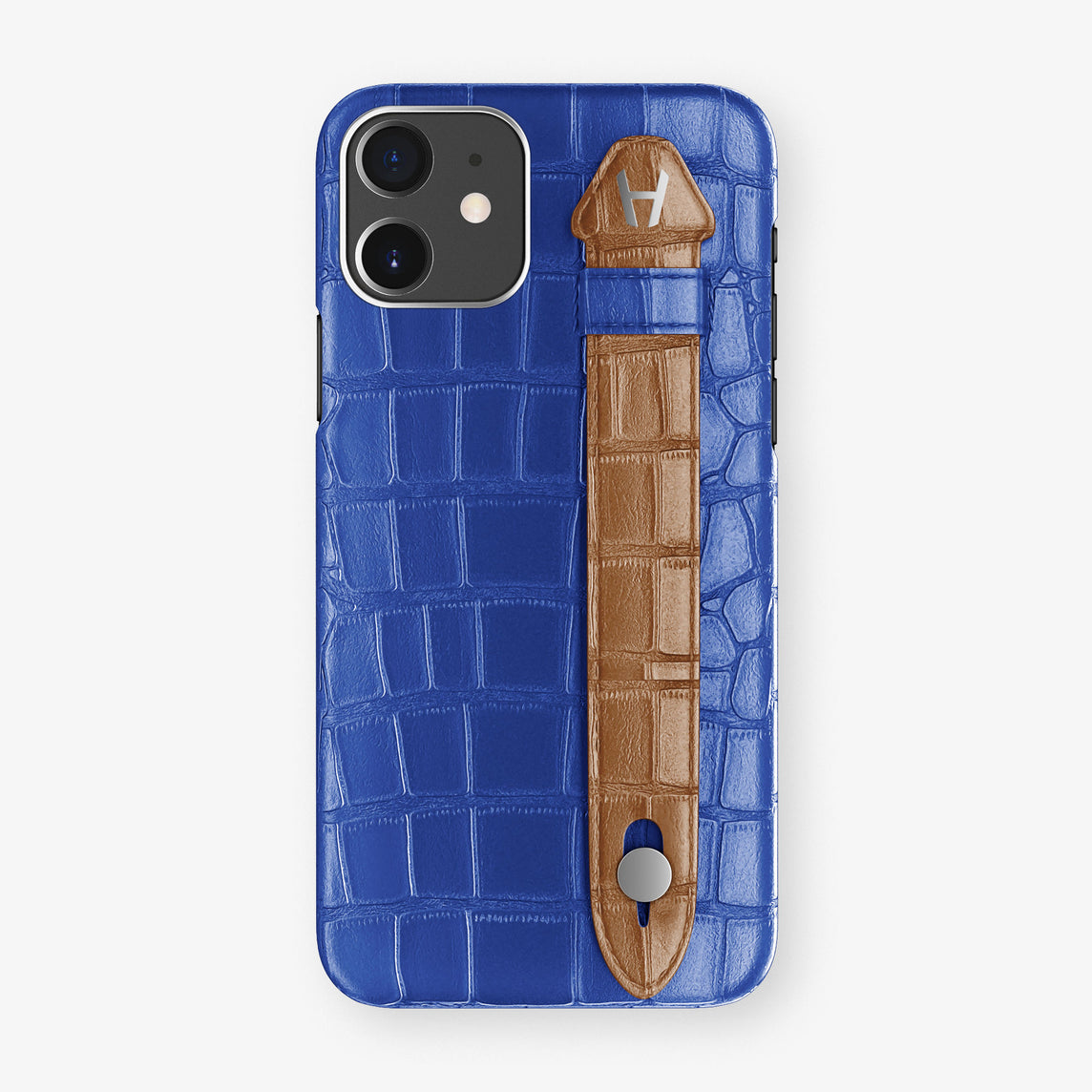 Alligator Side Finger Case Phone 11  | Peony-Blue/Cognac - Stainless-Steel
