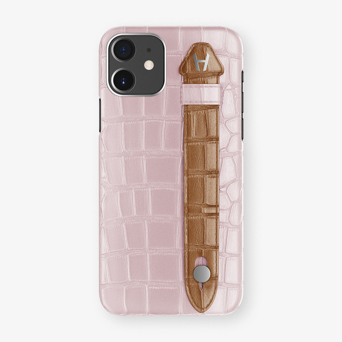 Alligator Side Finger Case Phone 11  | Pink-Poudre/Cognac - Stainless-Steel