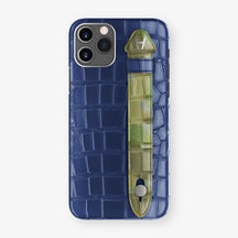 Alligator Side Finger Case Phone 11 Pro  | Navy-Blue/Green Camouflage - Stainless-Steel