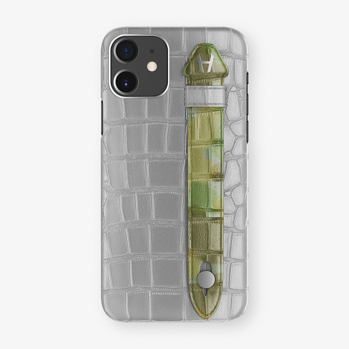 Alligator Side Finger Case Phone 11  | Silver/Green Camouflage - Stainless-Steel