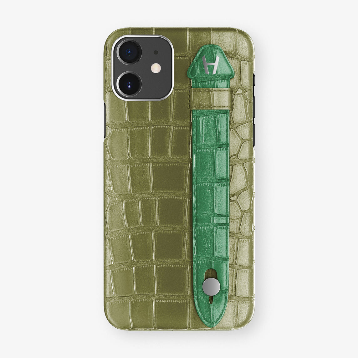 Alligator Side Finger Case Phone 11  | Khaki/Green-Emerald - Stainless-Steel
