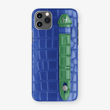 Alligator Side Finger Case Phone 11 Pro Max  | Peony-Blue/Green-Emerald - Stainless-Steel